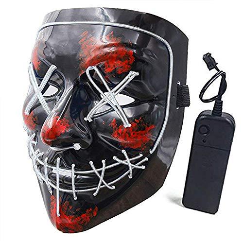SehrGo Halloween Maske LED leuchten Festival Party Cosplay Maske batteriebetrieben (weiß)