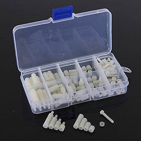 Mohoo M3 Nylon Tornillo hexagonal Tuerca Surtido Kit Separadores Standoff plástico Set de accesorios