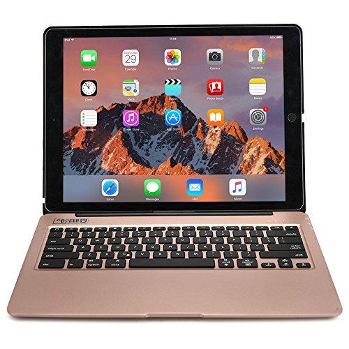 Apple iPad Pro 12.9 Hülle mit Tastatur, [NEU] COOPER KAI SKEL A1 Hintergrundbeleuchtung Bluetooth Alu kabellos MacBook Klappgehäuse wiederaufladbar Power Bank für Apple iPad Pro 12.9 Zoll Rose Gold