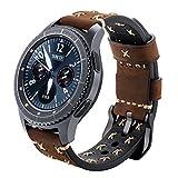iBazal Gear S3 Armband Leder, Gear S3 Frontier/Classic Uhrenarmband 22mm Echtes Lederband Kompatibel Gear S3 Frontier/Classic, Samsung Galaxy Watch 46mm [Schick Serie] - Schick Kaffee
