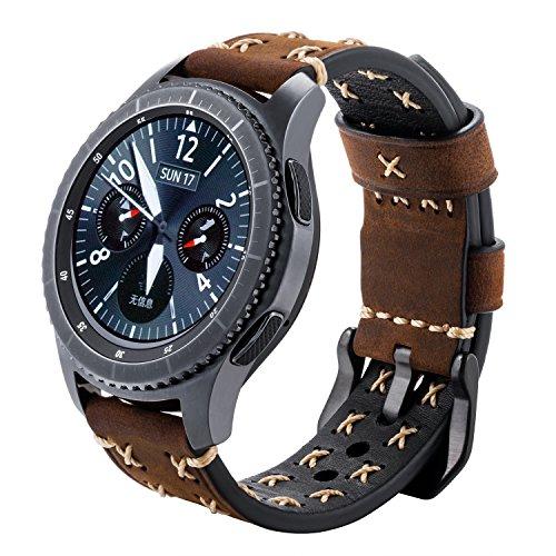 iBazal Gear S3 Bracelet, Gear S3 Frontier/Classic Bracelet de Montre 22mm Vintage Véritable Bracelet Cuir pour Samsung Galaxy Watch 46mm, Samsung Gear S3 Frontier/Classic SM-R760 - Chic Café