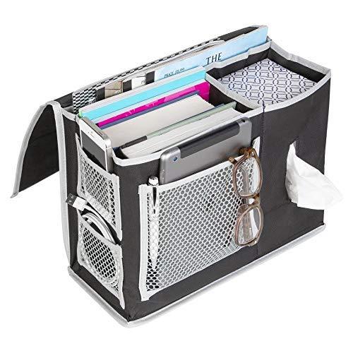 YQ WHJB Betttasche Storage,6 Tasche Für Schlafsäle Home Organisatoren Unter Matratze Holder Tasche Für Bücher Telefone Tabletten Tv-Fernbedienung-schwarz -