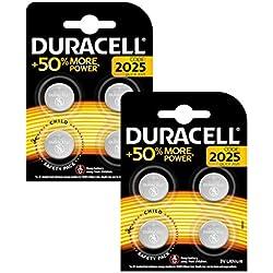 Pile Bouton Lithium Duracell Spéciale 2025 3V, Pack de 8 (DL2025/CR2025), Conçue pour une Utilisation dans les Porte-Clés, Balances et Dispositifs Portables et Médicaux