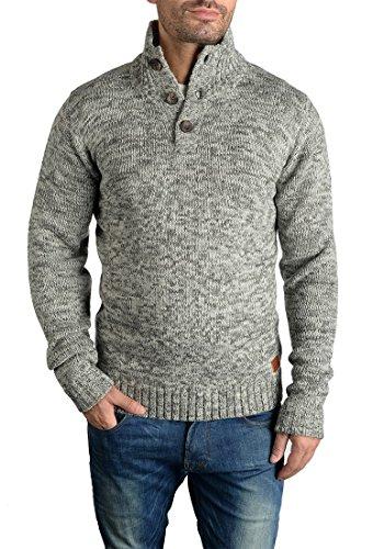 BLEND Teno Herren Strickpullover Feinstrick Troyer Pulli mit Stehkragen aus hochwertiger Baumwollmischung Meliert Pewter Mix (70817)