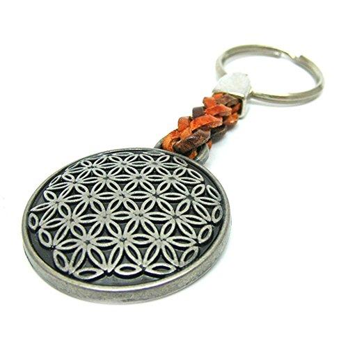 Linus Jade Schlüsselanhänger Antik Leder Esoterik Meditation Blume des Lebens
