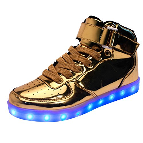 MatchLife Unisex Damen Herren USB Charging Lighted Couple Sport High Top Sneakers Style2-Gold