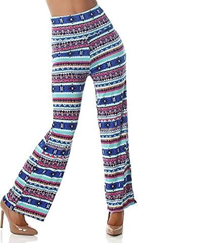 Veryzen Femmes Pantalon taille haute Pantalon taille haute Fusées Aztec design pantalon taille haute haute turquoise 36,38,40,42