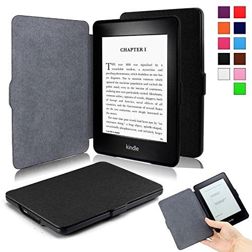 Infiland Kindle Paperwhite Hülle - Die dünnste und leichteste Schutzhülle Tasche mit auto Sleep / Wake für Amazon Kindle Paperwhite (alle Modelle von 2012, 2013, 2015 und 2016), Schwarz (6-zoll-kamera-tasche)