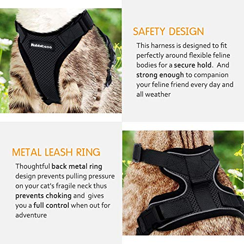 rabbitgoo Cat Harness Escape Proof with Lead Set for Walking, Black Puppy Kitten Harness No Pull No Choke Design - Adjustable Reflective Strips Vest Harnesses for Small Medium Cats, S Black