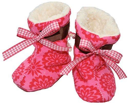 FARBGEWITTER - Baby Mädchen Schuhe Krabbelschuhe Puschen mit Fleece gefüttert BLUMEN in pink Pink
