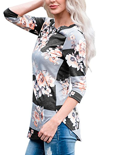 Yidarton Herbst Bluse Damen Langarm Shirt Pullover Floral Splice Printing Rundhals Tops T Shirt Oberteil (L, Grau) (Pullover Floral Grau)