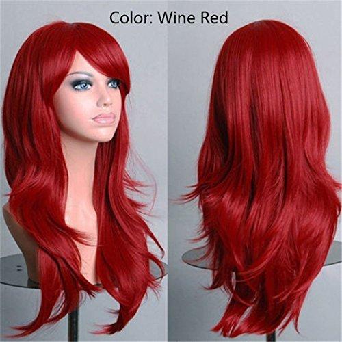 SNOILITE Frauen 23 Zoll Halloween Perücke Synthetische Haare lang Lockig Cosplay Perücke Lila Schwarz Rosa Rot Weiß Orange Blond #99 J 24 Zoll