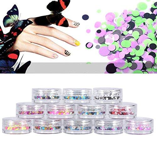 12pcs Nail Art Paillettes Brillant Glitter Décoration d'Ongles de Manucure DIY avec Boîte de Stockage