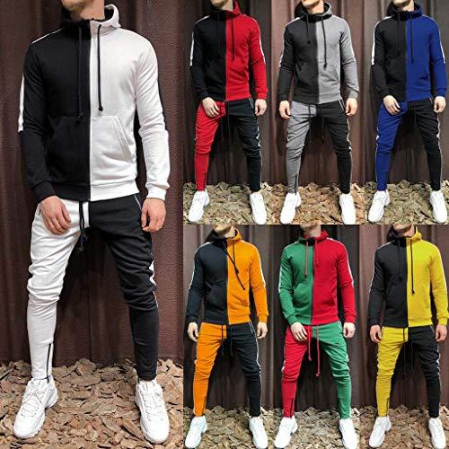 LOLIANNI Herren-Mischfarben-Sportanzug Herren-Herbst-Patchwork-Reißverschluss-Sweatshirt mit lässigem Trainingsanzug