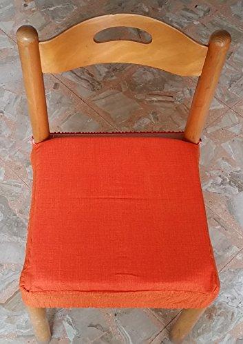 N.6 cuscini coprisedia quadrati universali sfoderabili con zip tinta unita arancione