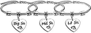 """Set di 3 braccialetti regolabili con cuore per sorella, figlia e amiche, con incisione """"Big Sis"""", """"Mid Sis"""" e """"Lil Sis"""""""