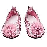 Naisicatar Glitter Puppe Schuhe Blumen-Kleid-Schuh für 18 Zoll Our Generation American Girl Puppe Baby-Puppen-Zubehör 1 Paar rosa Party-Geschenke