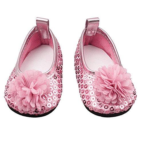 Blumen Kleid Schuh für 18 Zoll Unsere Generation Mädchen Puppe Baby Dolls Zubehör 1 Paar Pink ()