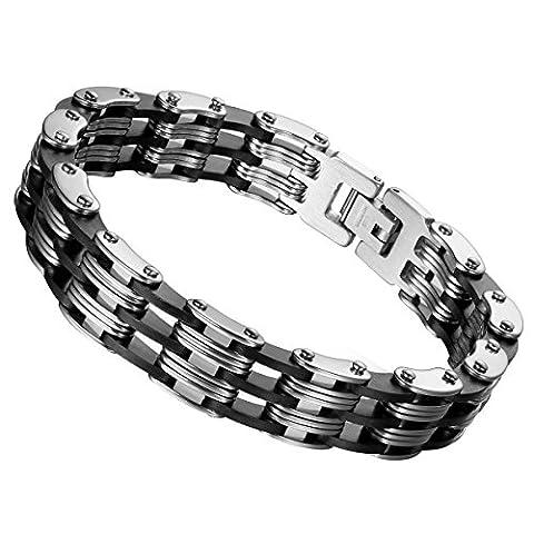 cupimatch masculin hommes de style gothique punk Bracelet Poignet bracelet en acier inoxydable Lien pour chaîne de vélo Argent 12mm de large en silicone noir