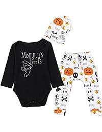 Ropa para Bebe,RETUROM Carta del bebé recién Nacido Mameluco Tops Pantalones de impresión de Calabaza Cap Halloween Clothes Sets