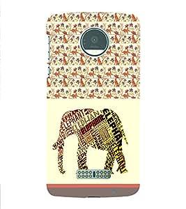 PrintVisa Animal Elephant Art 3D Hard Polycarbonate Designer Back Case Cover for Motorola Moto Z