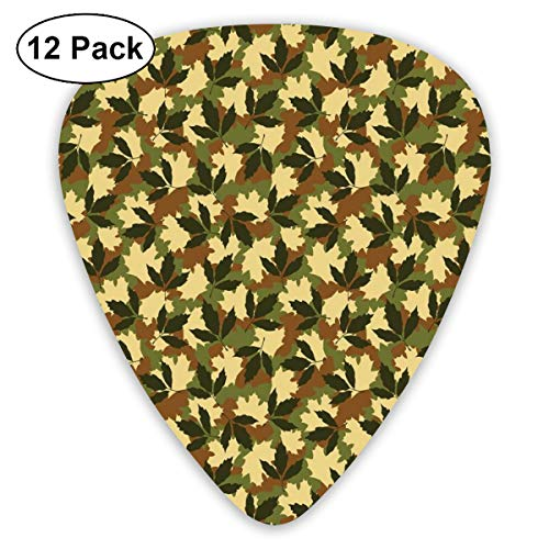 Guitar Picks - Abstract Art Colorful Designs,Leafage Pattern With Nature Theme Camo Style Forest Woodland Hiding Design,Unique Guitar Gift,For Bass Electric & Acoustic Guitars-12 Pack -