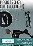Infimedix Magnetischer Brillenhalter SET - 1 x Schwarz, 1 x Silber, 1 x Microfaserputztuch für Brillen oder Handy's