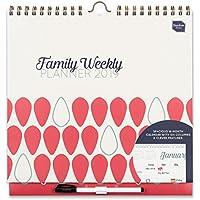 Boxclever Press 2019 Family Weekly Planner. Calendario de pared familiar con vista semanal, columnas para 6 personas, listas de compra. Planificador para familias. Abarca de ahora a diciembre 2019.