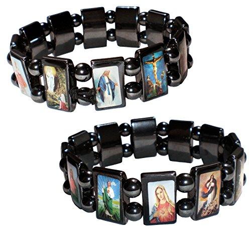 2 pulseras con 12 santos – piedras naturales de hematitas