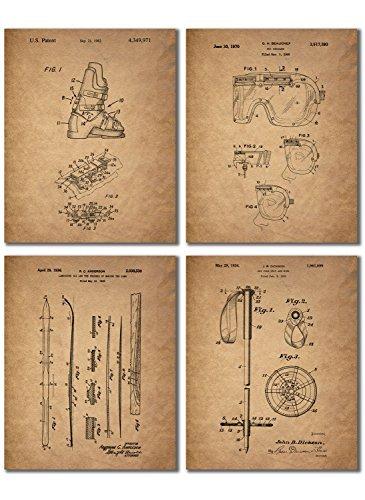 BigWig Prints Ski Patent Prints-Set von Vier 8x 10Vintage Wand Art Decor Fotos (Freestyle-ski-poster)