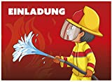 16 Einladungskarten zum Kindergeburtstag - Motiv Feuerwehrmann - für Kinder, Jungen, Mädchen,Feier Geburtstagseinladungen im Set