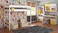 Loft Beds For Kids Children Juniors 140x70, 160x80, 180x80, 180x90, 200x90 No Mattress Included and Ladder is on the Side (Short Edge)