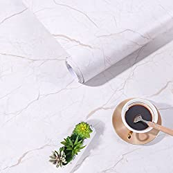 Marble Contact Paper Wallpaper Self Adhesive Furniture Sticker Decorative Vinyl Paper for Wall Table Door Waterproof White Brown Marble Pattern Granite Effect Kitchen Bedroom Bathroom 44.5 x 200 cm