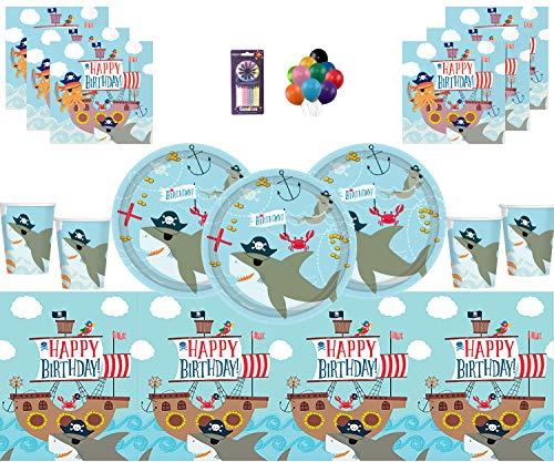 Dekoration Geburtstag liefert Pappteller Tassen Servietten Plastiktischdecke Luftballons Kerzen für 16 Gäste ()