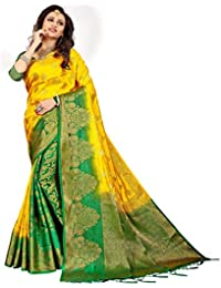 C J Enterprise Women's Kanjivaram Silk Saree Pure With Blouse Piece