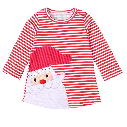 Funnycokid Baby Mädchen kleider Kleidung Langarm Deer Striped Princess Weihnachten Outfits (90, Weiß)