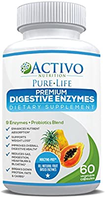 Premium Digestive Enzymes for Constipation & Digestion Health - With Probiotics & Makzyme Pro™ Blend to Relieve Gas & Bloating for Men and Women - Veggie Capsules for Maximum Absorption - Made In UK! by Activo Nutrition