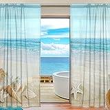 COOSUN Landschaft mit Muscheln auf tropischen Strand Schiere Vorhang Panels Tüll Polyester Voile Fenster Behandlung Panel Vorhänge für Schlafzimmer Wohnzimmer Wohnkultur, 55 x 78 Zoll, 2 Panels Set