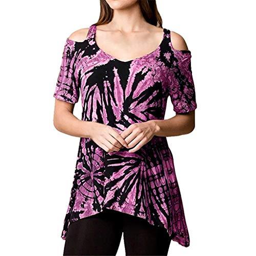 Deloito Damen Sommer Tee Oberteile Krawatte Färben drucken Kurzarm Bluse Schulterfrei Weste Unregelmäßige Saum Oberteile T-Shirts (Lila,Small)