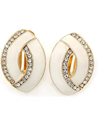 Matt White Enamel Clear Crystal Oval Clip On Earrings In Gold Plaiting - 20mm L