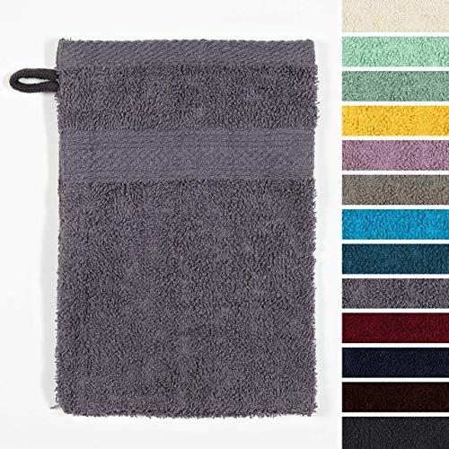 Lumaland Premium 10er Set Waschlappen Waschhandschuhe Baby Waschlappen Frottee 16 x 21 cm aus 100% Baumwolle 500 g/m² mit Aufhänger grau