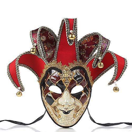 BLEVET Vénitien Mascarade Masque Rétro Fête Masque Décoratif Mardi Gras Halloween Party Masque MZ021 (Red)