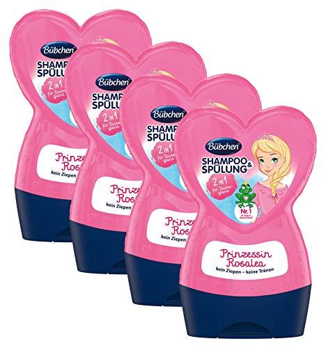 Bübchen Kids Prinzessin Rosalea Shampoo und Spülung, Kinder-Shampoo und -spülung, pH-hautneutral, für weiches Kinderhaar, für Zauberglanz, Menge: 4 x 230 ml