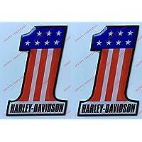 Escudo Logo Decal Harley Davidson, Number One, U.S.A., par pegatinas resinati, efecto 3d. Para depósito o casco