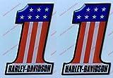 Lot de 2 autocollants avec motif numéro 1 Harley Davidson, en résine effet 3D Pour réservoir ou casque.
