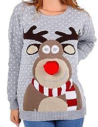 Hina Fashion Frauen Unisex Rudolph Print 3D-Pom Pom Nase Weihnachtspullover Sweater