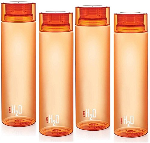 Cello H2o Unbreakable Bottle Orange Set of 4