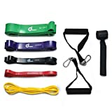 Fitness Bands 9in1 - ODOLAND Resistance Bands incl. Door Anchor and Handles, 5 different Resistance Strengths, 143kg in total, with Storage Bag