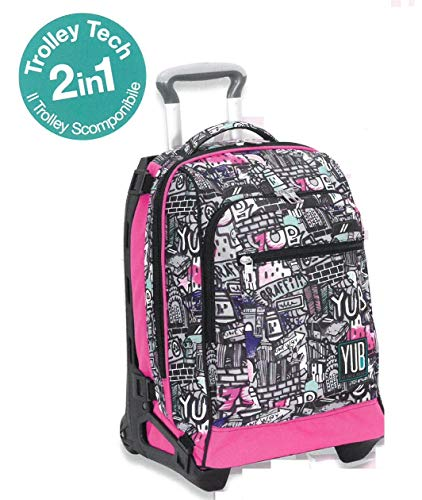 Zaino Trolley Scomponibile Tech Yub Graffiti Girl Sganciabile e Lavabile - Seven