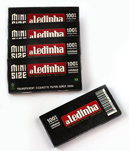 5 booklets - aLeda aLedinha MINI size clear Cellulose rolling paper from  Brazil - 250 papers